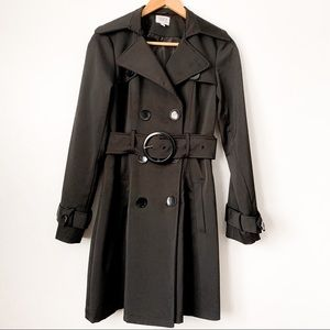 Suzy Shier Black Double Breasted Trench Coat